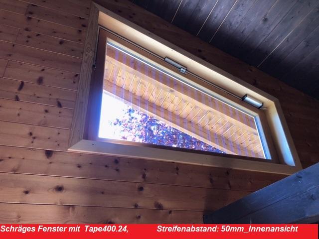 Schräges Fenster mit Tape400.24, 50mm Streifenabstand_Innenansicht